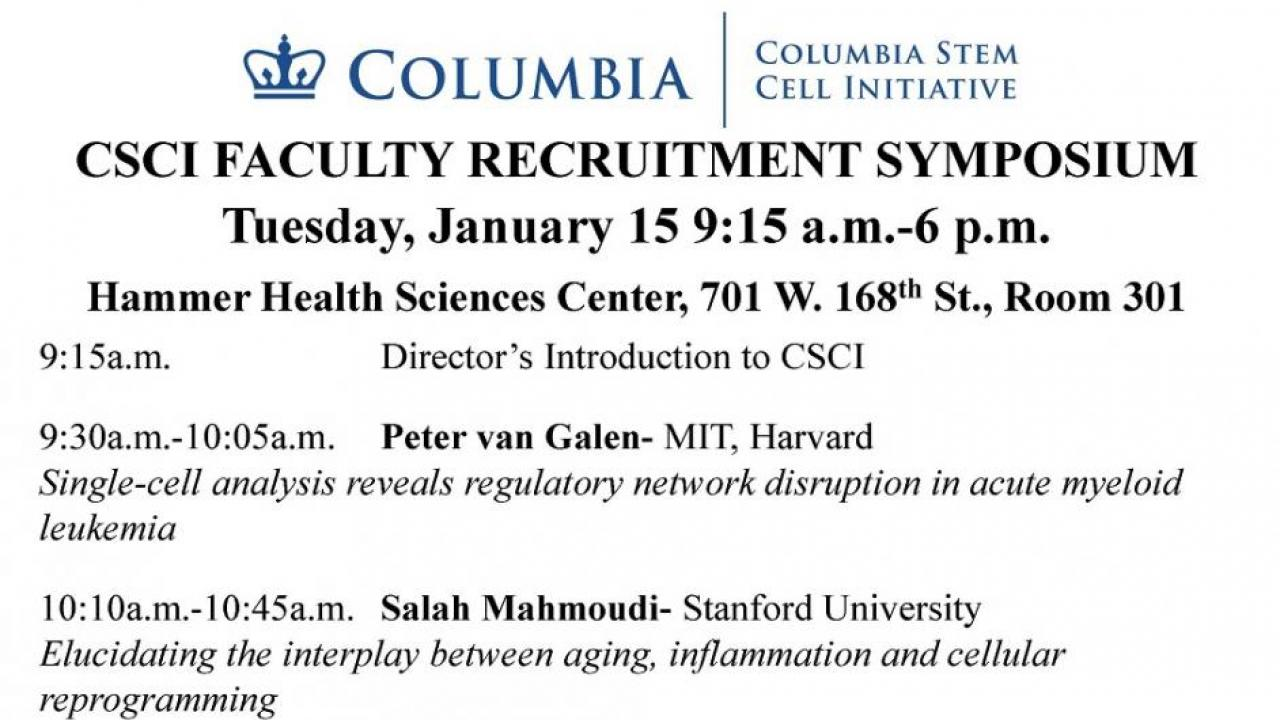 CSCI Faculty Recruitment Symposium January 15   Columbia